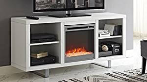WE Furniture 58 Simple Modern Fireplace TV Console in living room