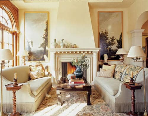 how to arrange sofas with a fireplace white living room