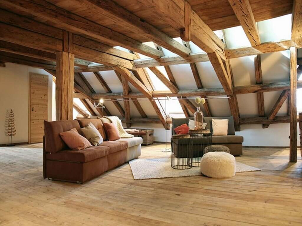 Attic upstairs loft decorating ideas in browns and darker tones