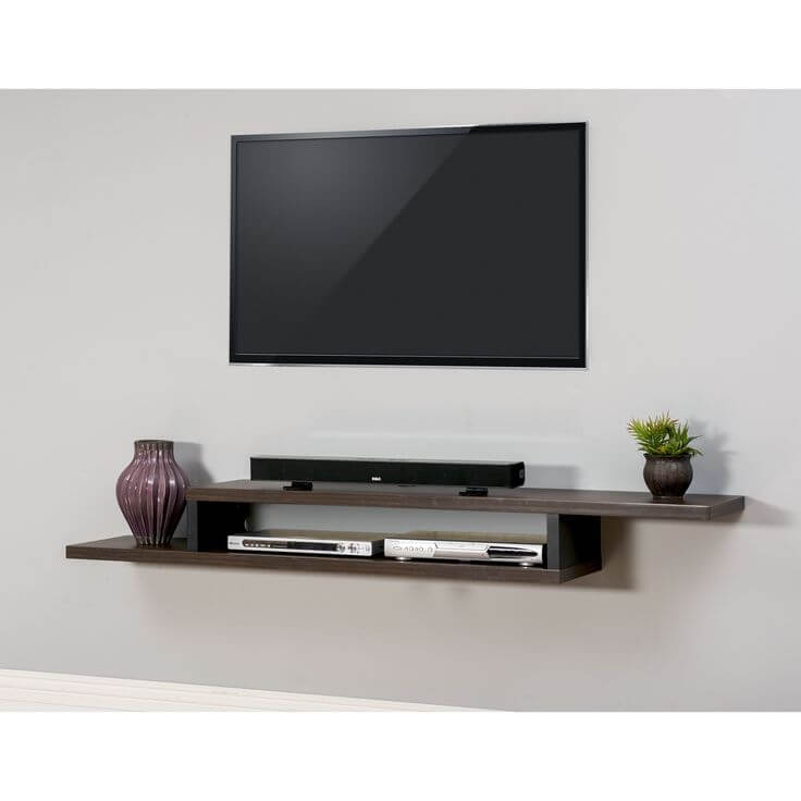 Small living room ideas with tv and wall shelf on white wall