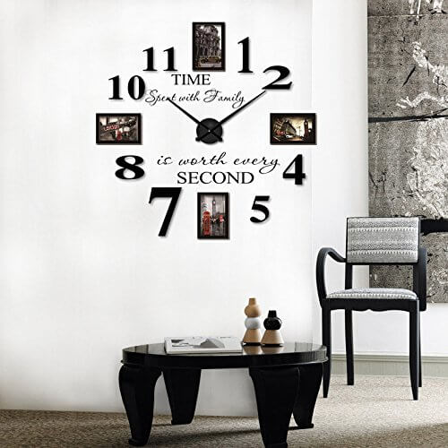 Reliable_E Inspirational Quotes Wall Sticker Photo Frame DIY 3D Wall Clock for Home Decor in black