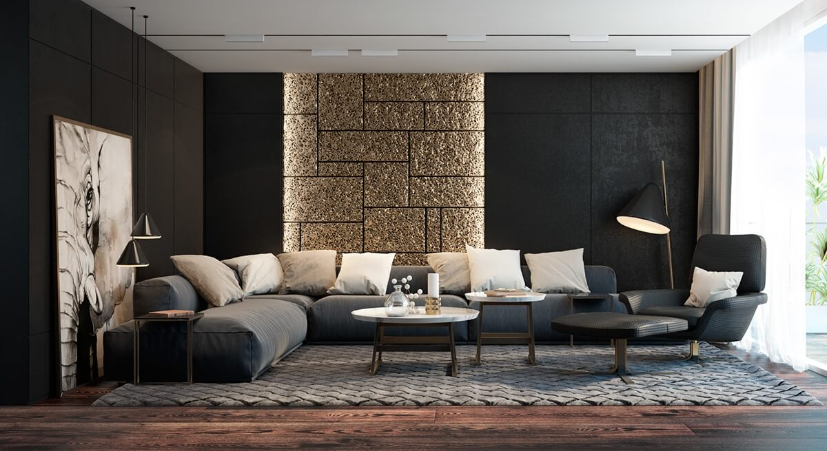 Living room colors in a darker shade with artwork and furniture