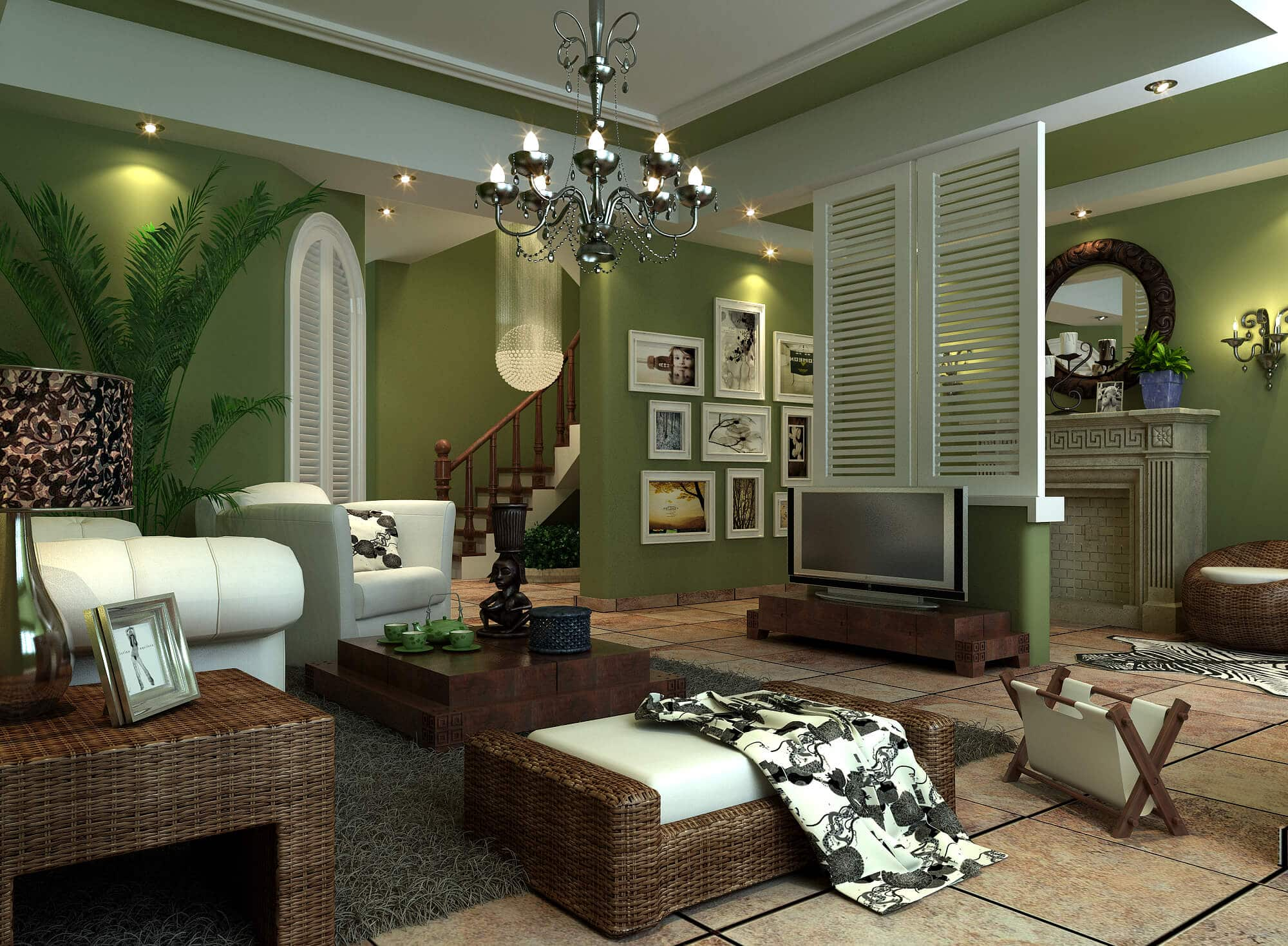 Green living room with wicker furniture, artwork and chandelier