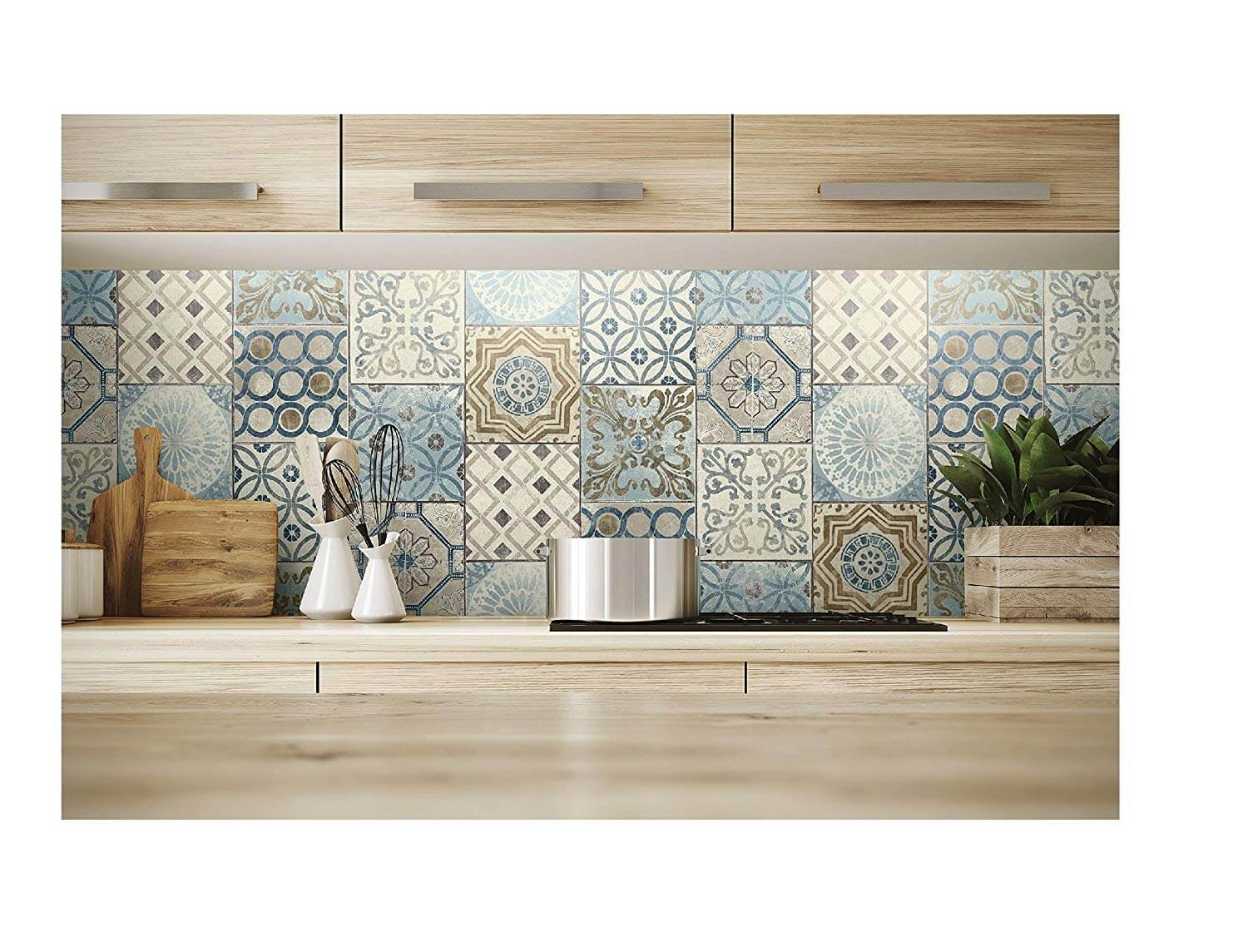 NextWall Moroccan Style Peel and Stick Mosaic Tile Wallpaper in Blue, Copper and Grey