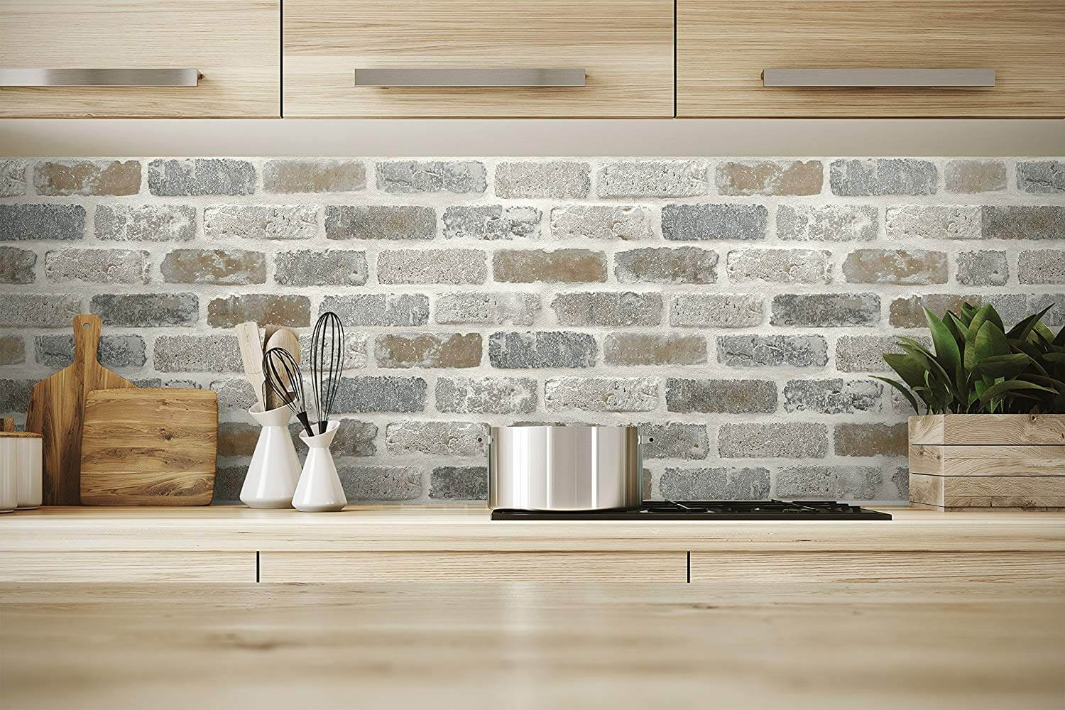 Brick backsplash ideas with NextWall Washed Faux Brick Peel and Stick Wallpaper with wood cabinets