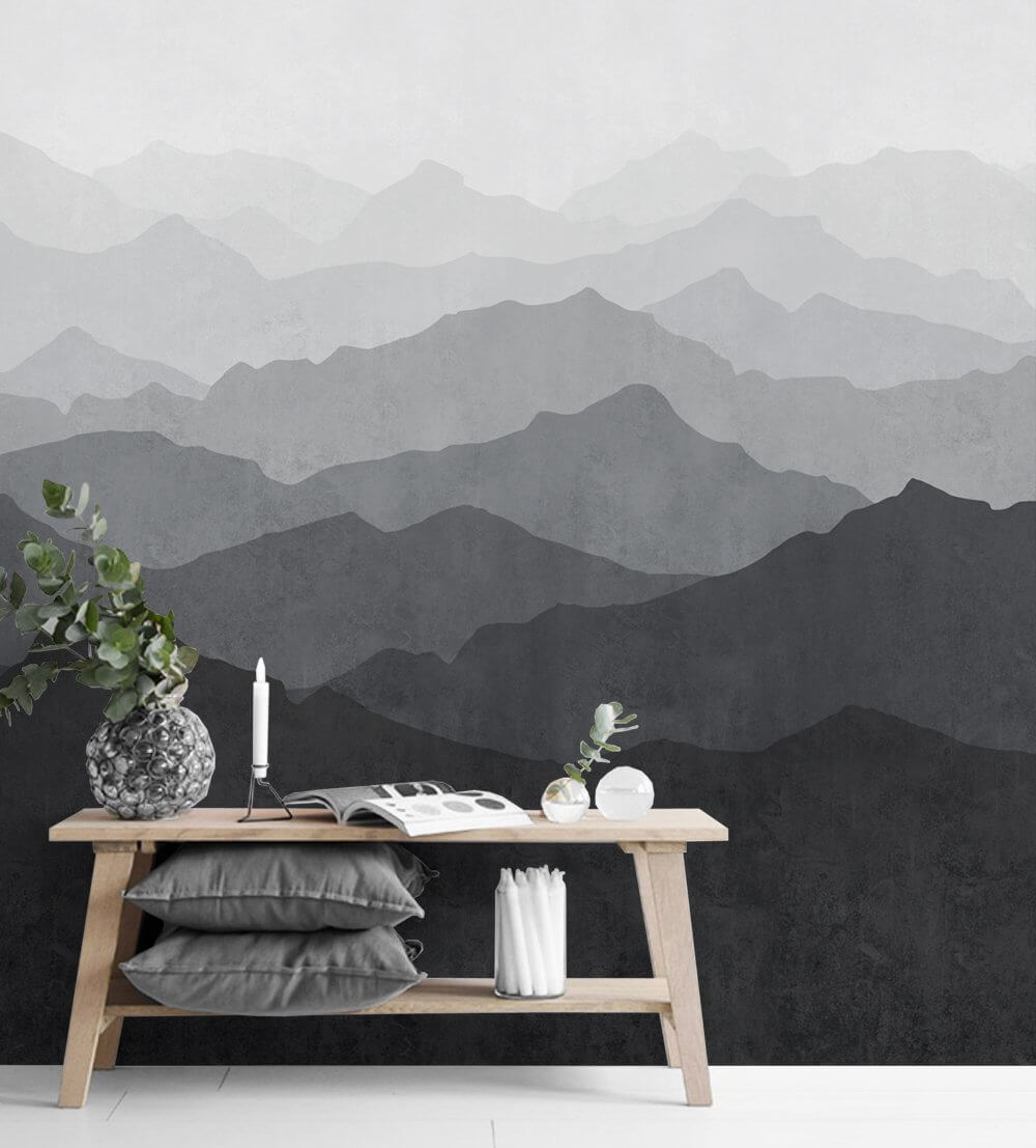 Mountain Mural Wall Art Wallpaper Black & White Peel and Stick with bench and decor