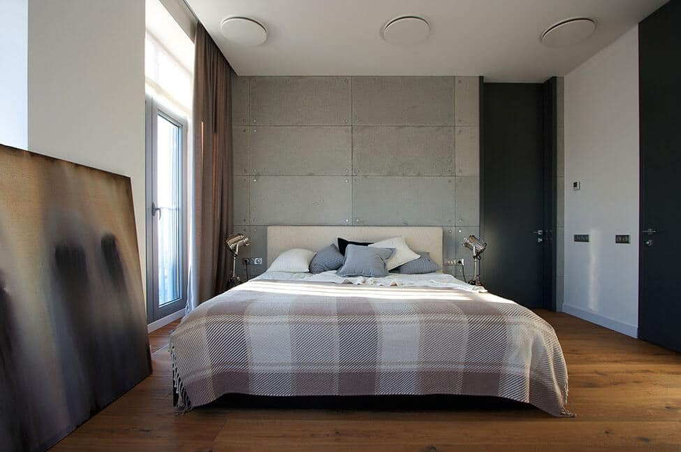 Masculine grey bedroom ideas with lights wooden floor and wall art