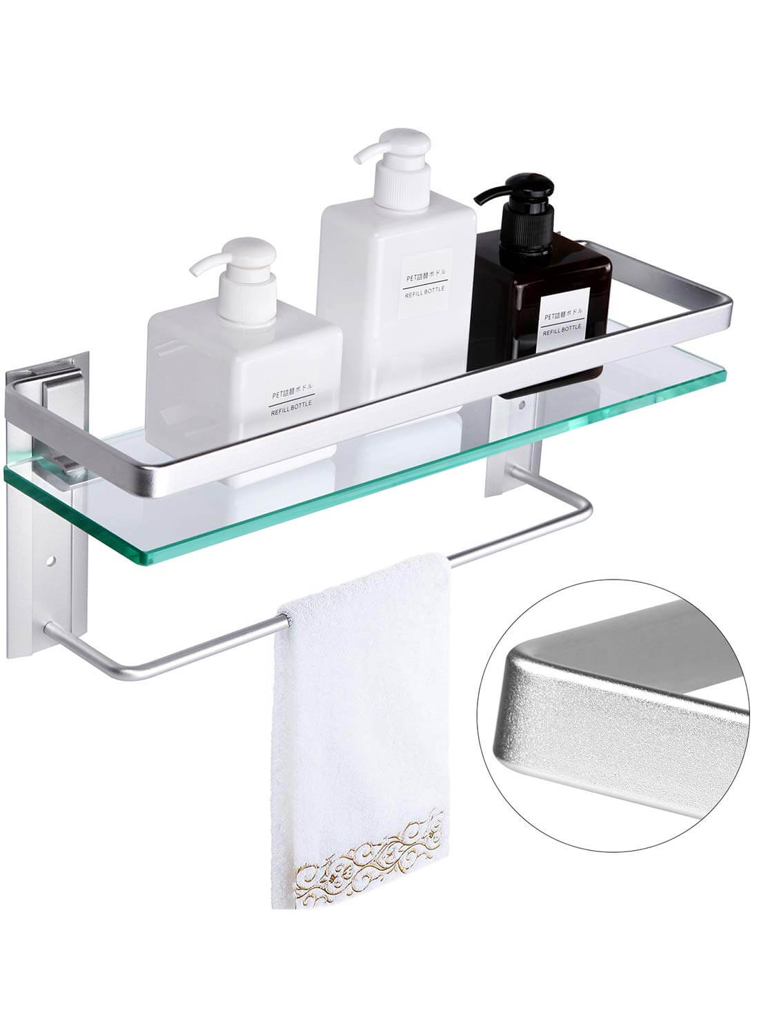 Vdomus Tempered Glass Brushed silver Bathroom Shelf with Towel Bar Wall Mounted