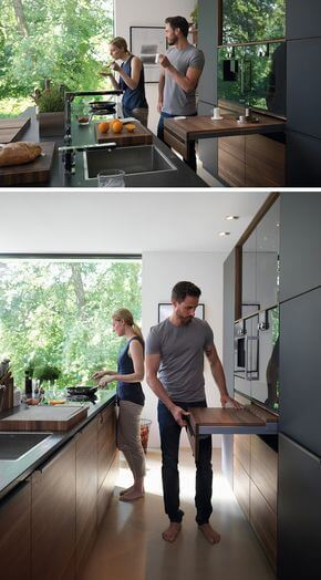 Floating breakfast bar from the wall