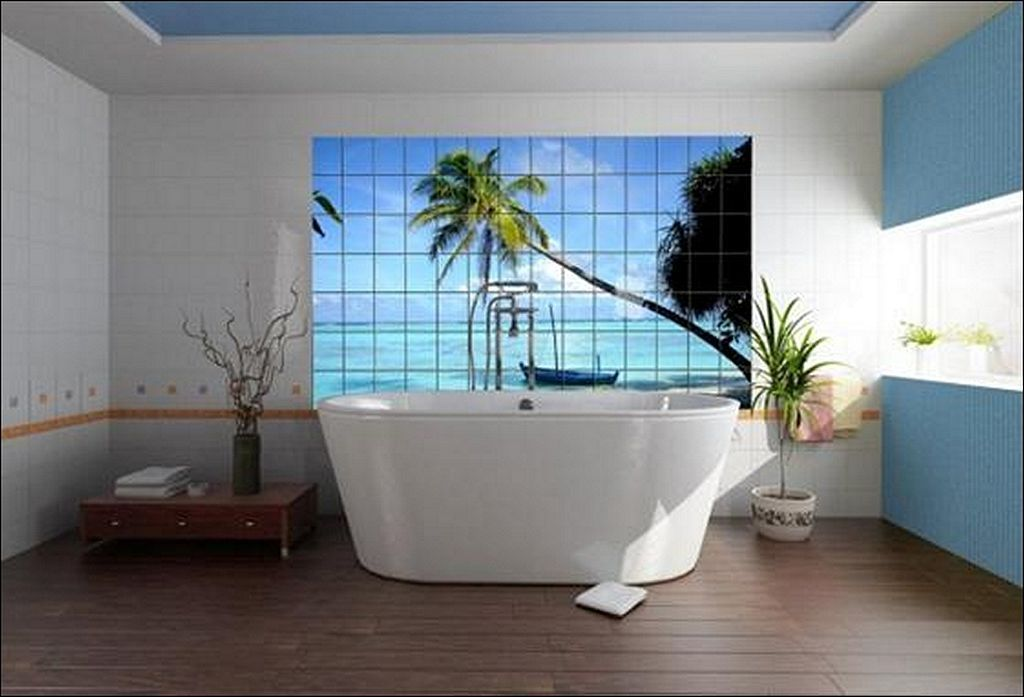 beach art with white tub with blue accents and plants