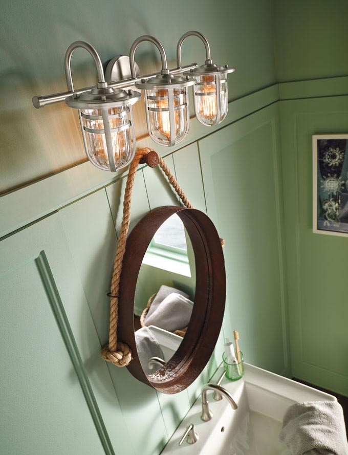 funky lights with porthole mirror