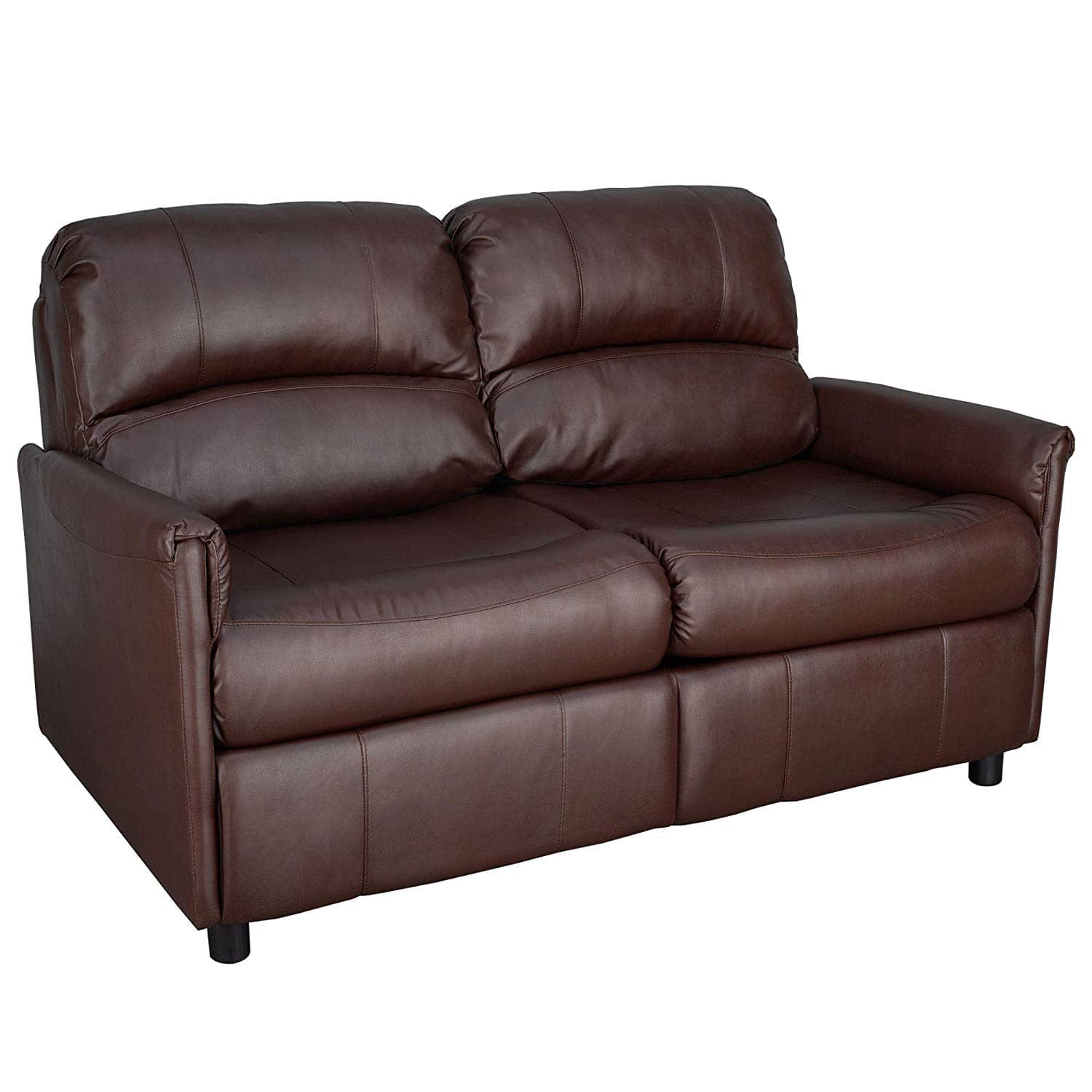 """60"""" RecPro Charles Collection brown pull out sofa bed, loveseat with memory foam mattress"""
