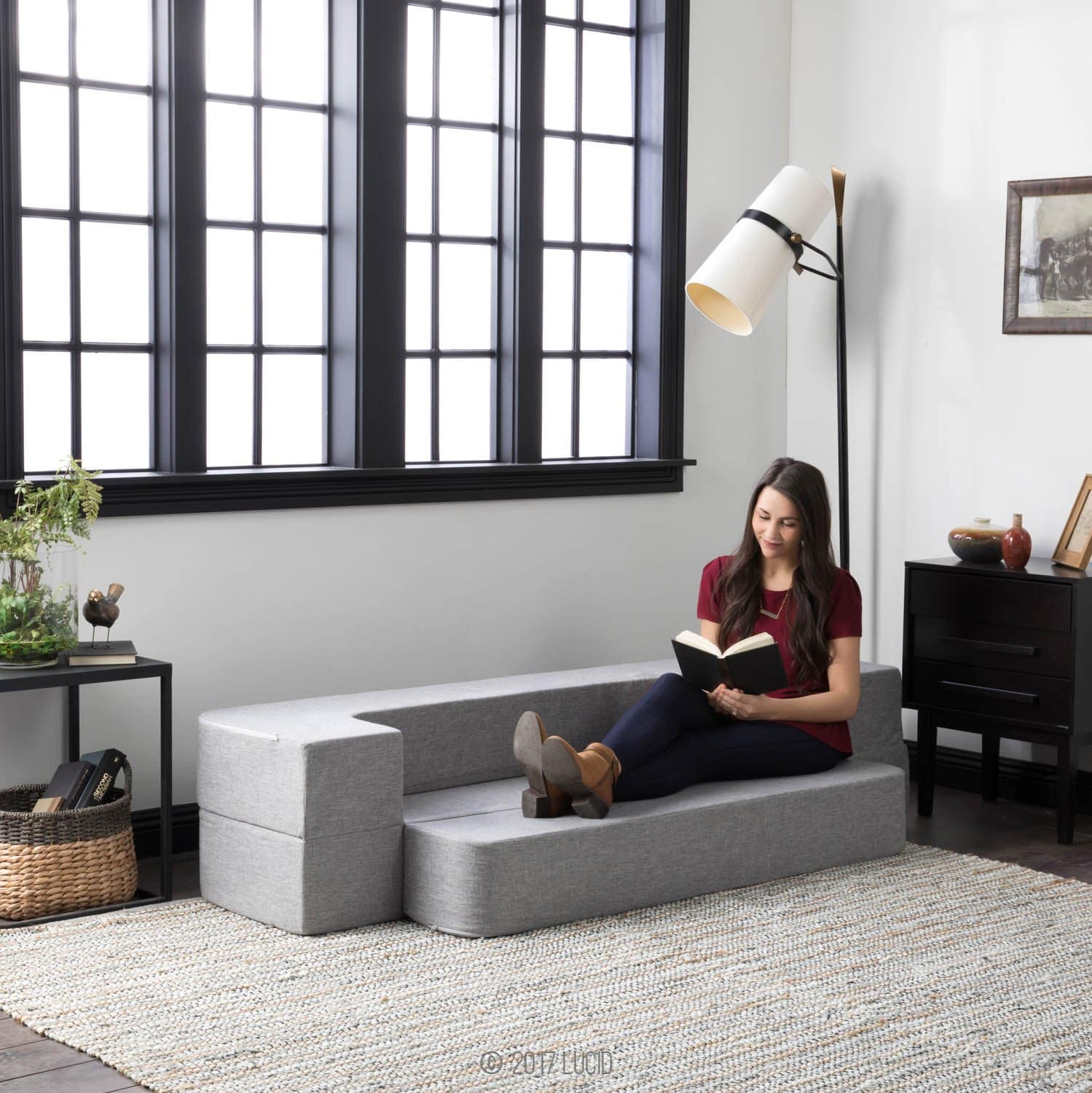 LUCID 8 Inch Convertible Foam Sofa and Foldable Play Mat