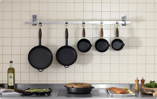 Bachelor Pad Kitchen Tools with skillets of different sizes