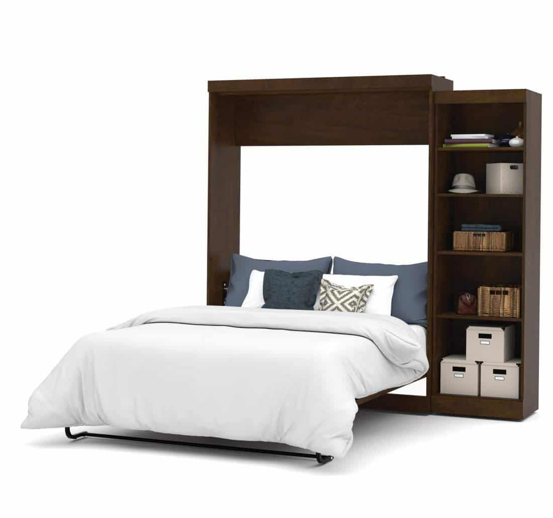 """Bestar 90"""" Queen Wall Bed kit in brown with shelves"""