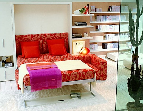 Red wall bed with storage shelves