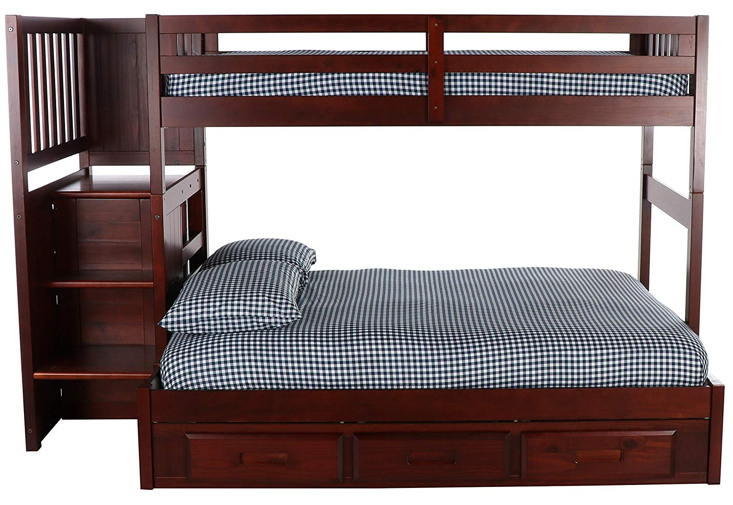 Merlot Twin Over Full Mission Staircase bunk beds with 3 drawers for storage