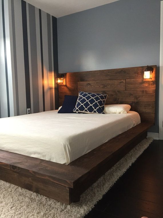 bachelor pad bedroom design with wooden bed frame and lighting Bachelor Pad Ideas