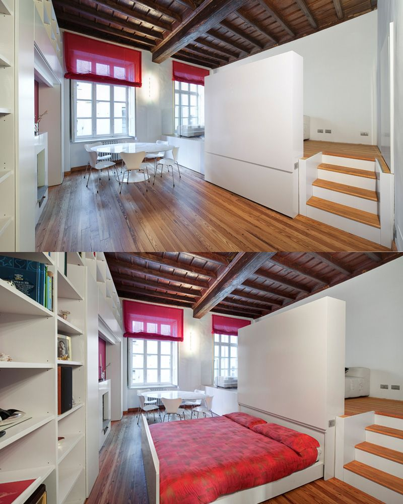 bed drawer in small room with storage shelves and wood floors