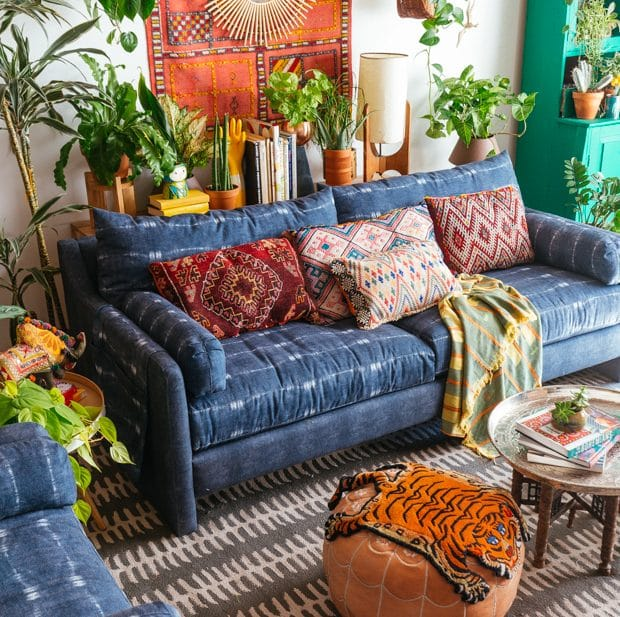 Boho Sofa for living room with decor and plants and coffee table
