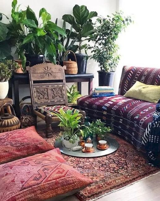 Bohemian wooden chair with plants couch and other bohemian decorating ideas