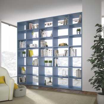 Bookcase in blue with storage and books as split living room ideas
