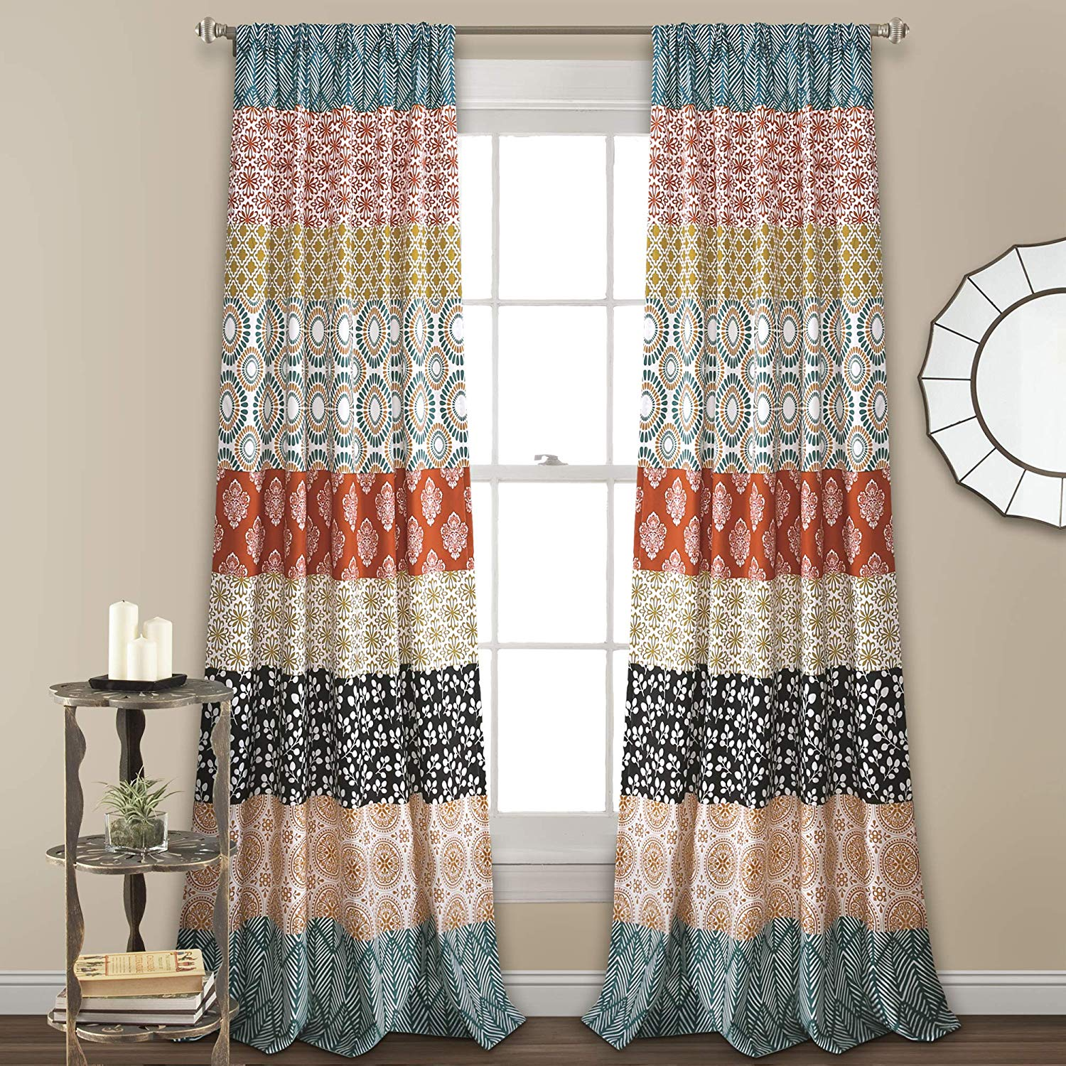 Lush Decor Turquoise and Orange Bohemian Stripe Window Curtain Colorful Bold Design Panel Pair 84 by 52