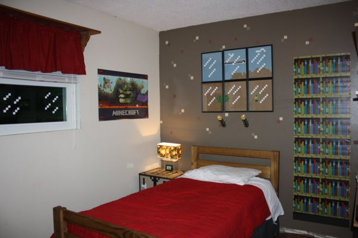 Minecraft wall decals in bedroom with brown and white walls