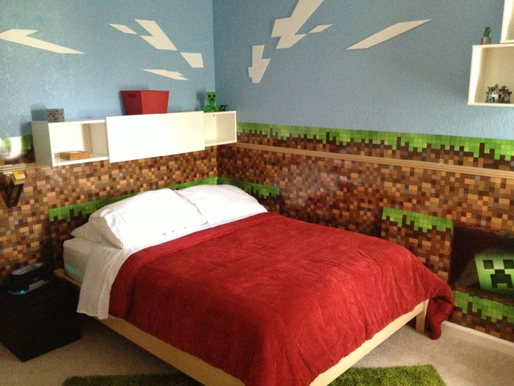 Minecraft wall decals in bedroom with decor with blue accents