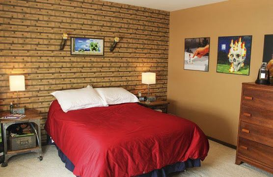 Minecraft wall decals in bedroom with brown accent decor