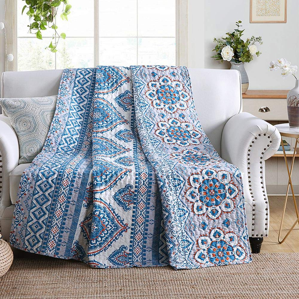 NEWLAKE Quilted Throw Blanket for Bed Couch Sofa, Boho Chic Style 60 by 78 Inch as bohemian decorating ideas