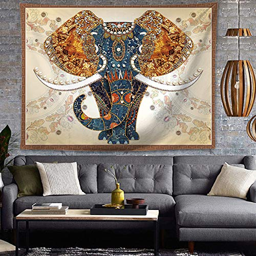OATHENE Bohemian Psychedelic Elephant Polyester in front of grey brick wall with couch with bohemian decorating ideas