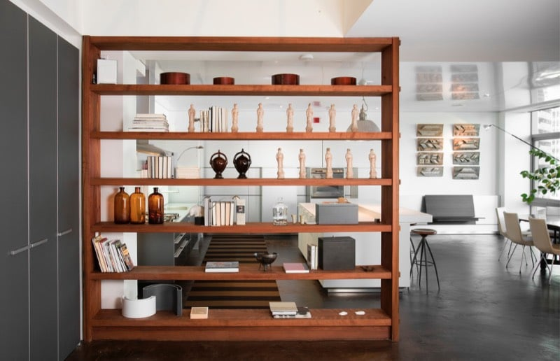 Open Shelf as a room divider in white room with kitchen and dining room split living room ideas