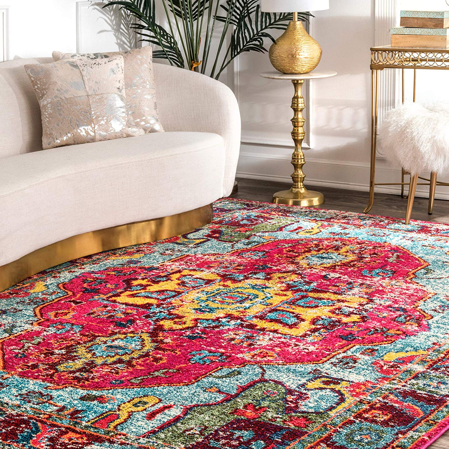 Safavieh Monaco Collection MNC243N Bohemian Chic Medallion Distressed Area Rug 3 foot by 5 Navy Light Blue