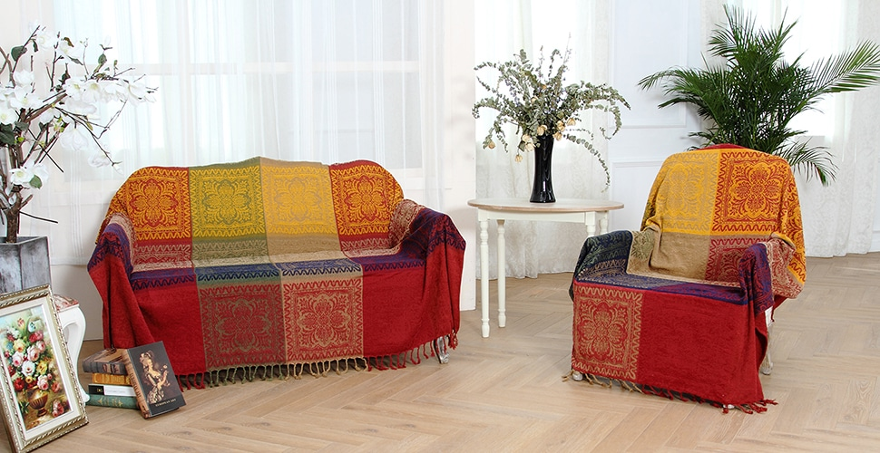 amorus Chenille Jacquard Tassels Bohemian Throw Blankets for Bed Couch Decorative Chair Cover