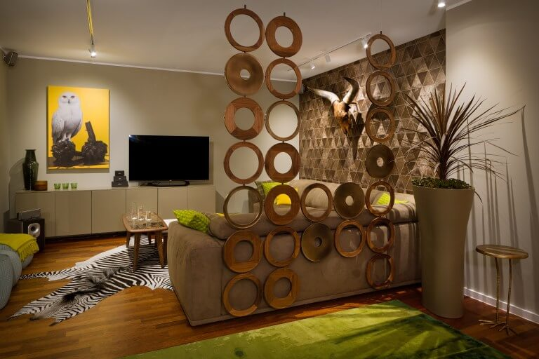 divider for open space room with art work and zebra rug