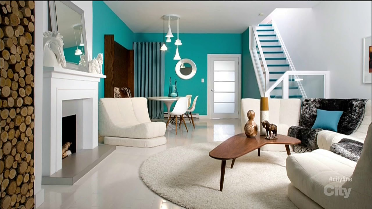 living room space by color coding different zones in blue and white living room