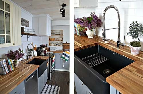 Beadboard Panels with sink and plants