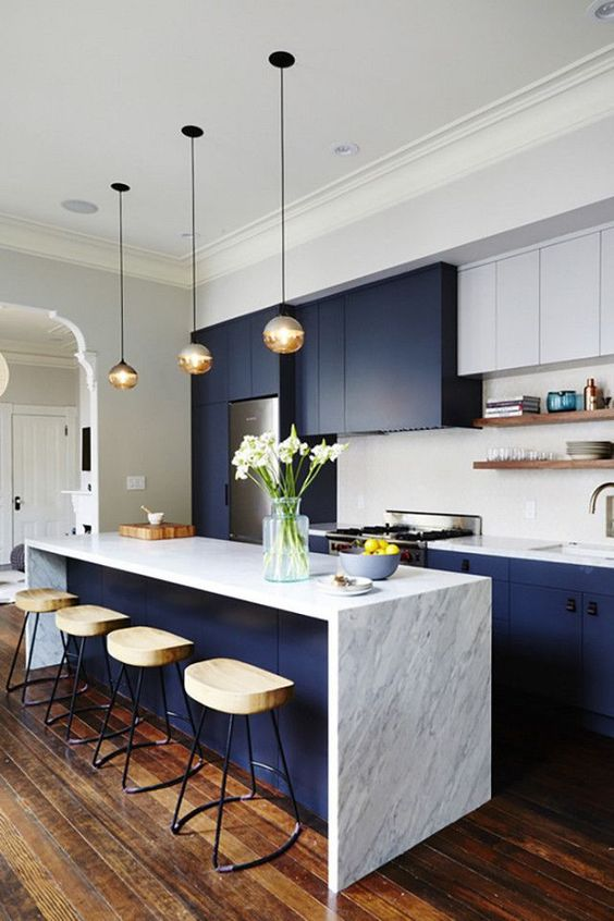 Kitchen decorating ideas for countertops in blue and white kitchen with flowers