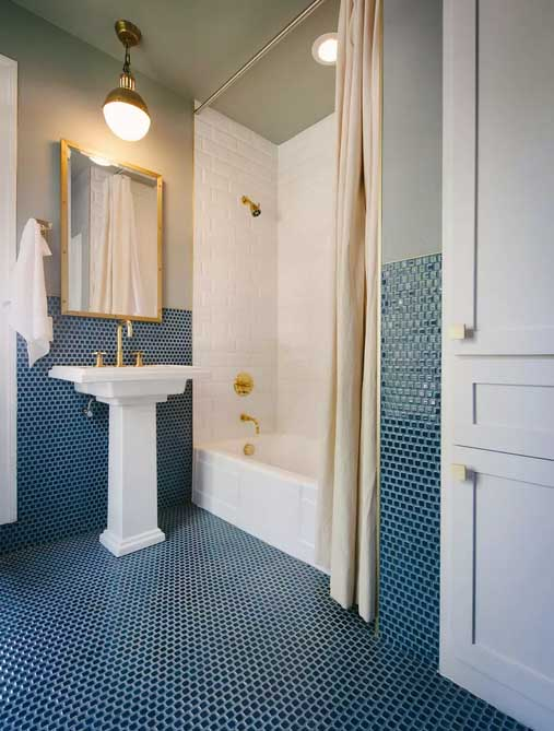 Brass Pendant Lights rustic bathroom lighting ideas with blue tiles and white shower with square mirror