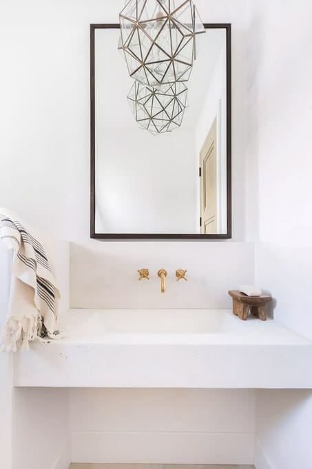 Brass and Glass Faceted Pendant Light rustic bathroom lighting ideas in white bathroom with mirror