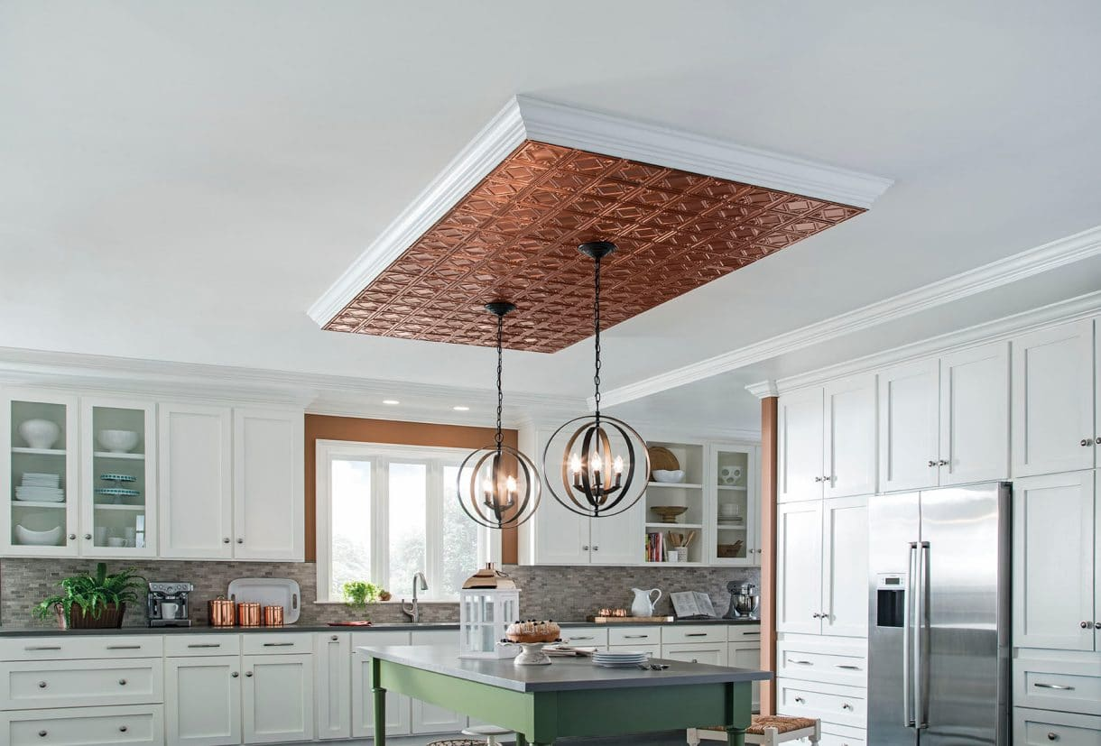 Copper on ceiling with hanging lights