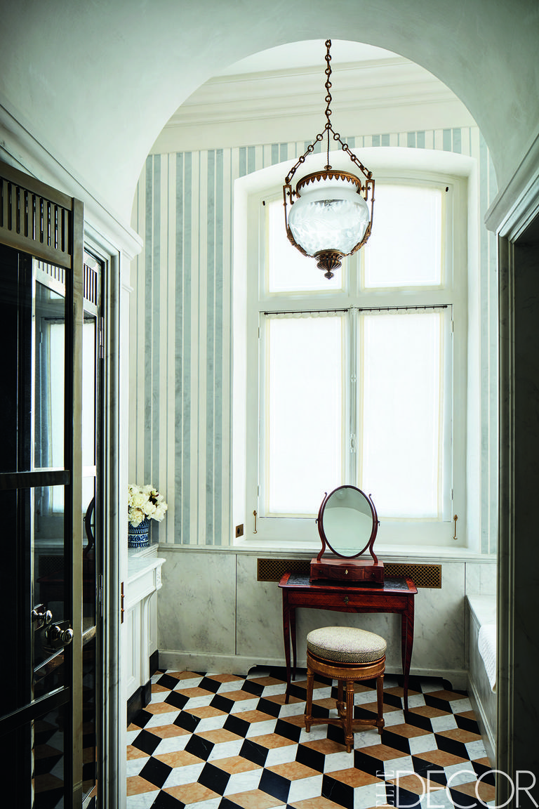 Rustic bathroom lighting ideas with Century Pendant Lantern and blue and white wallpaper