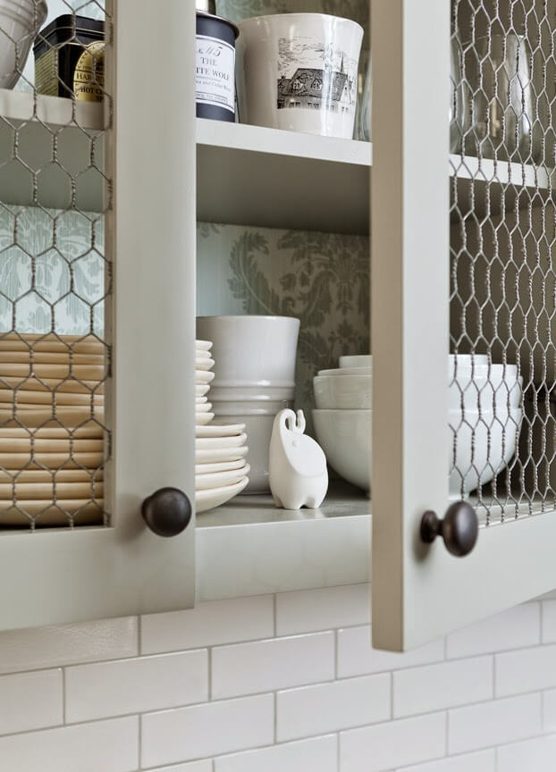 Chicken Wire Cupboard Door Fronts with plates and bowls