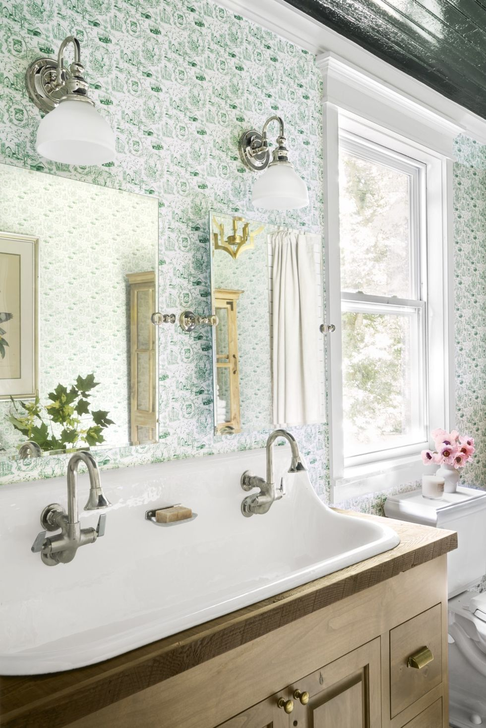 Chrome and Frosted Glass Sconce rustic bathroom lighting ideas with green wallpaper and double sink