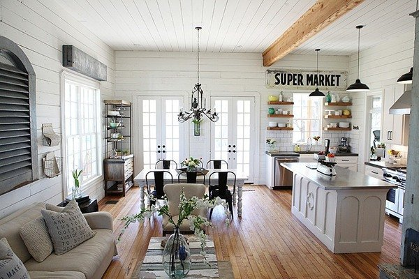Classic Wood and White with decor furniture and dining table Modern Farmhouse Kitchen Ideas