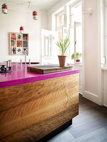 Kitchen decorating ideas for countertops with white kitchen pink countertop and decor