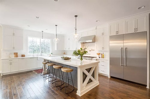 Decorative Wood Braces in white Modern Farmhouse Kitchen Ideas with metal accents