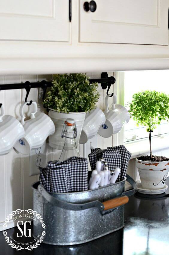 Galvanized Metal Cutlery and Linens Caddy