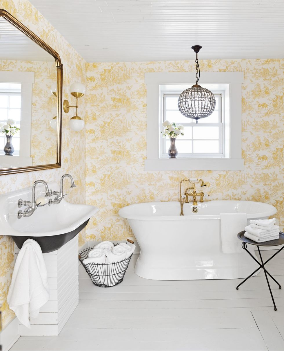 Glass Pendant with rustic bathroom lighting ideas in bathroom with yellow floral wallpaper and white floor